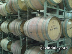 Empty oak barrels